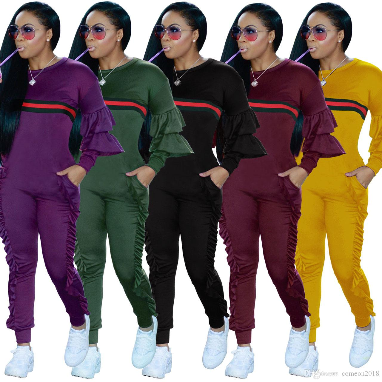 540276eb6df4d Womens Jumpsuits Ruffles Tracksuit Fashion Women Patchwork Striped Jumpsuit  Long Sleeve Hoody Stringy Selvedge Jumpsuit Casual Overalls Women Jumpsuits  ...