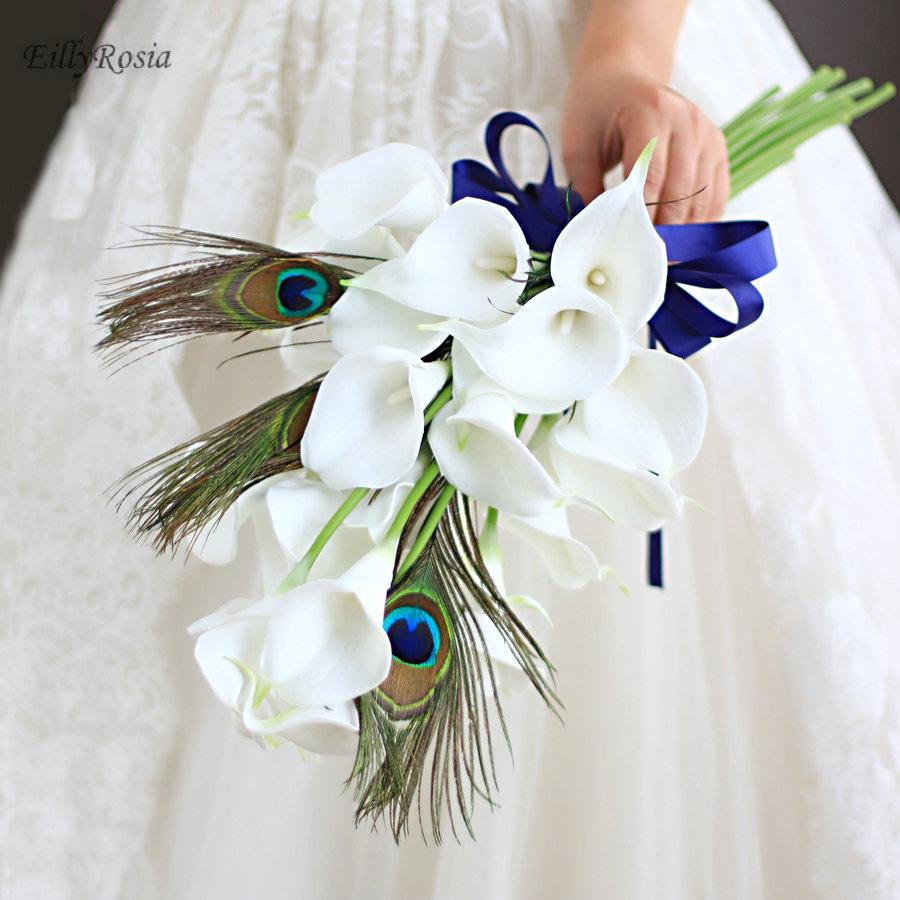 White calla peacock feather wedding bouquet unique custom artificial white calla peacock feather wedding bouquet unique custom artificial flowers royal blue ribbon bridal bouquet broom corsage 2018 types of flowers for mightylinksfo