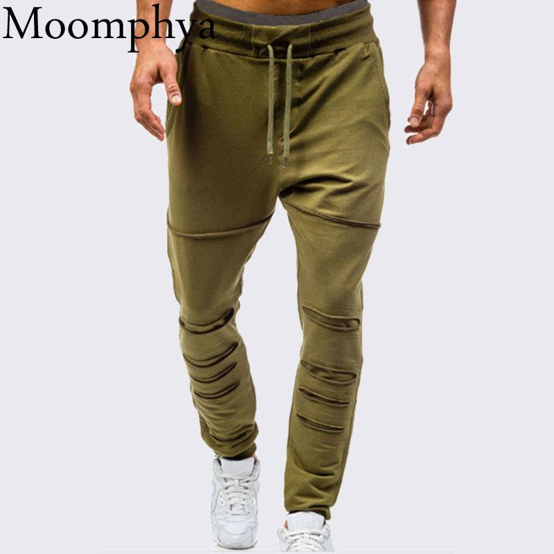 2018 Stylish Ripped holes men joggers pants Splicing sweatpants Streetwear hip hop Slim Fit men long pants pantalones hombre