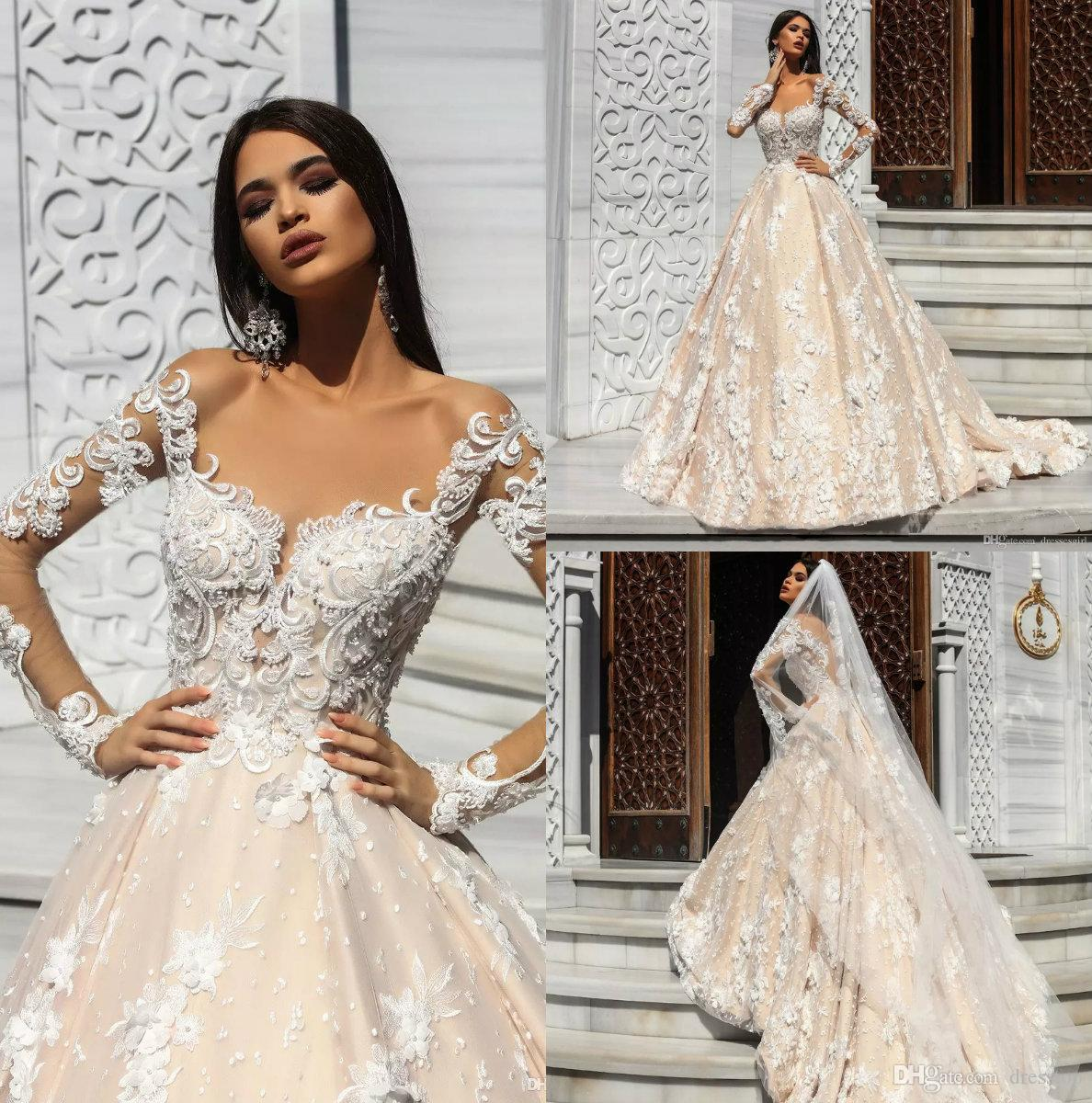 Princess Long Sleeve Champagne Wedding Dresses Church Lace Appliques Pearls Bridal  Gowns 2018 Illusion Plus Size Wedding Dress Bride Gowns Brides Dress From  ... b3fbbbe94817