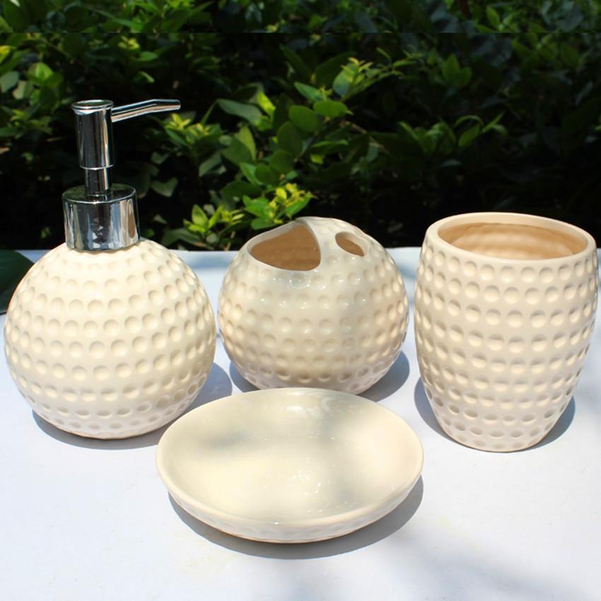 Golf Ball Bathroom Accessories Set Set Ceramic Bathroom - Golf bathroom accessories