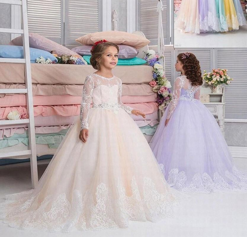 2018 Long Sleeve Lace Flower Girl Princess Vintage Special Occasion For Party Wedding Kids Princess Dresses