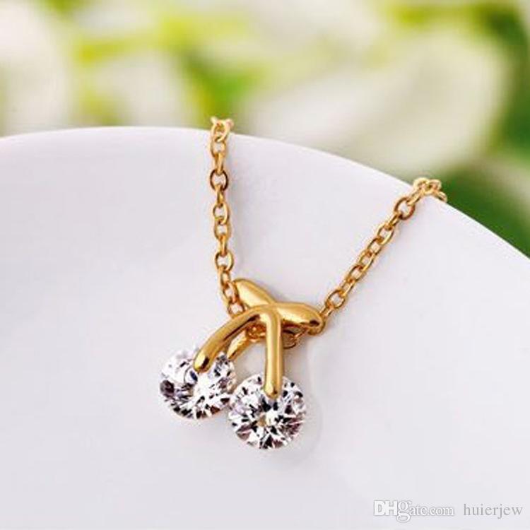 Collares de oro Moda Mujer Collares 18K oro / oro blanco plateado colgantes de la diapositiva Joyería con cadena Gros Collier collar colgante de Femme