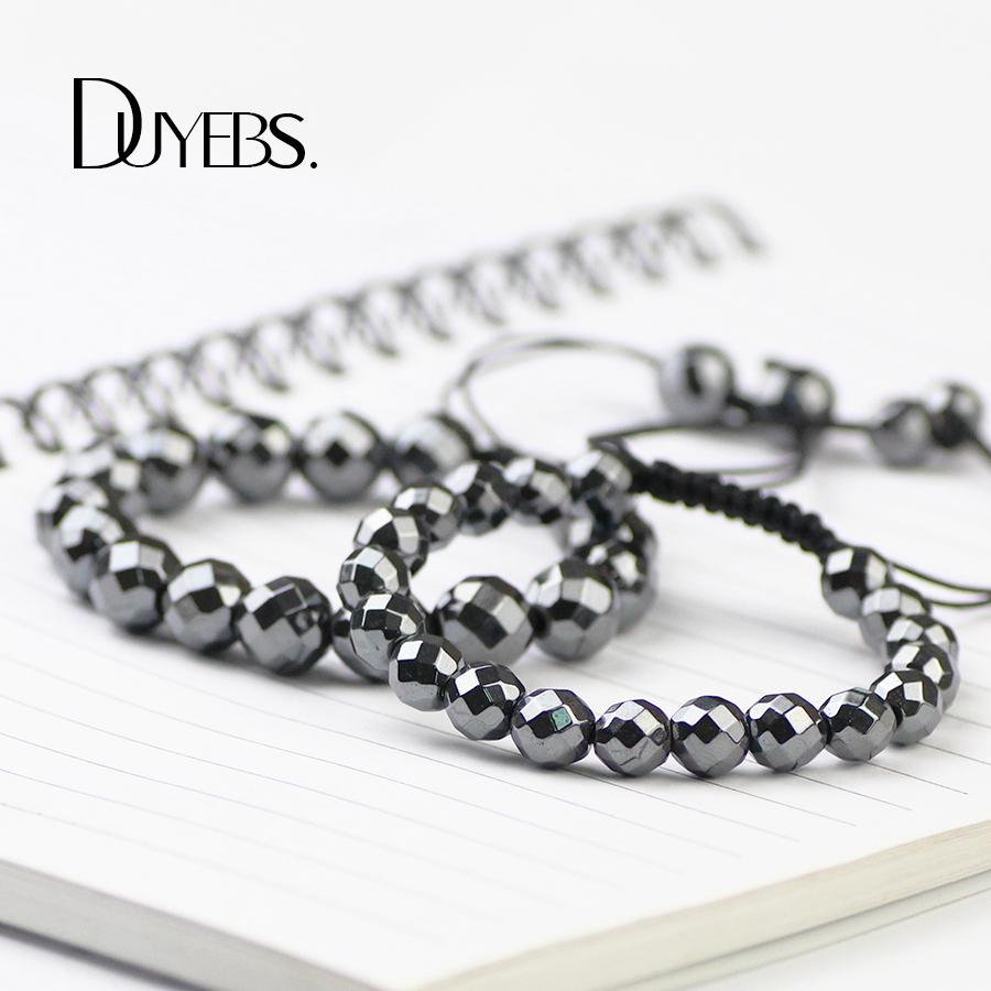 DUYEBS Faceted Ball Men Charms Bracelet 4/6/8/10mm Hematite Beads Braided Rope Gun Black Color Fashion Women Bangle Jewelry Gift
