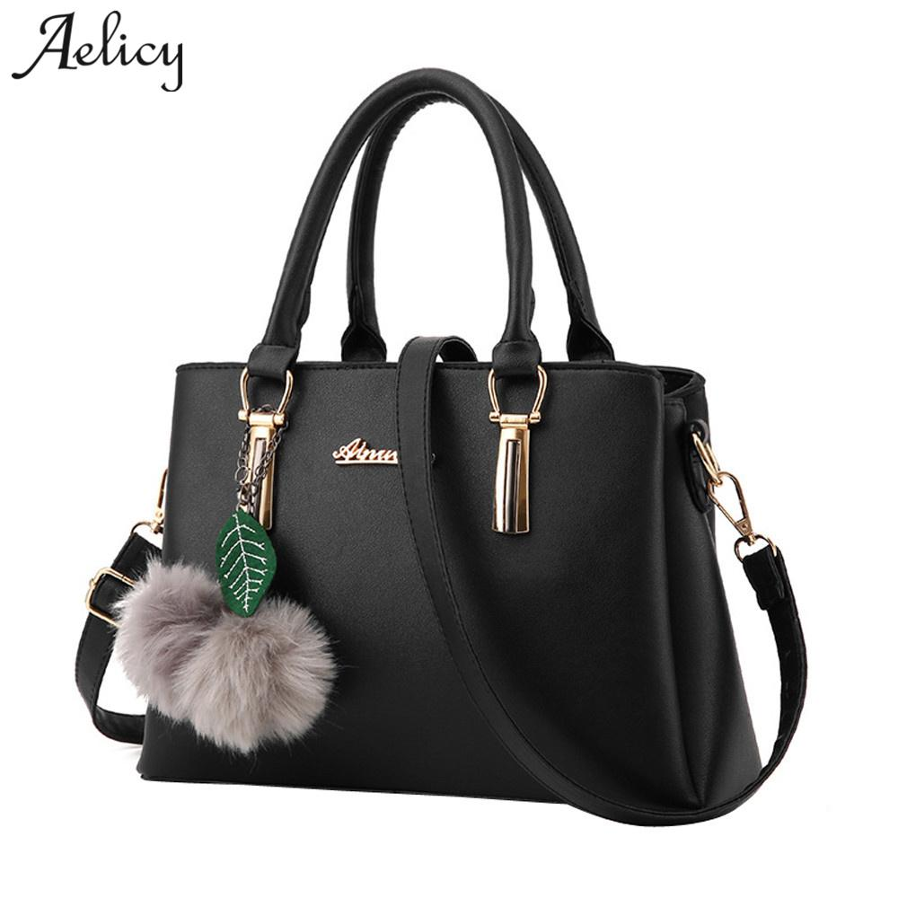 Aelicy Luxury PU Leather Fake Designer Handbag With Hairball New Top ... 41890e556bc46