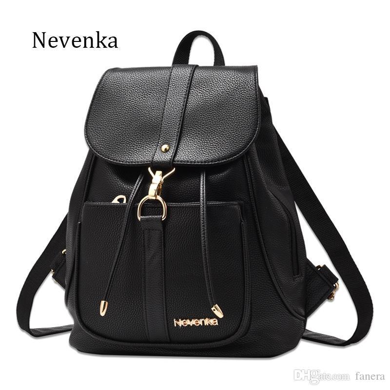 ab587dfd3b4b Nevenka New Spring Women Bag Preppy Backpack PU Leather Fresh Zipper ...