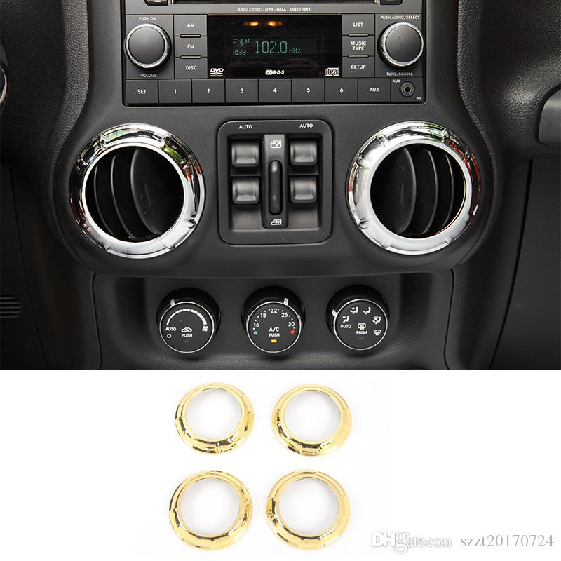Car Air Condition Vent Decoration Ring ABS Interior Accessories Gold Fit  For Jeep Wrangler 2011