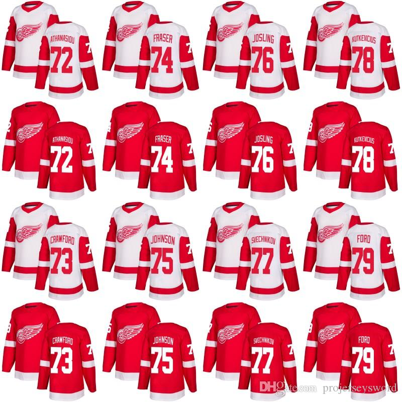more photos 123f9 5f86c Detroit Red Wings Jersey 72 Andreas Athanasiou 71 Dylan Larkin 60 Kaden  Fulcher 77 Evgeny Svechnikov Custom Hockey Jerseys