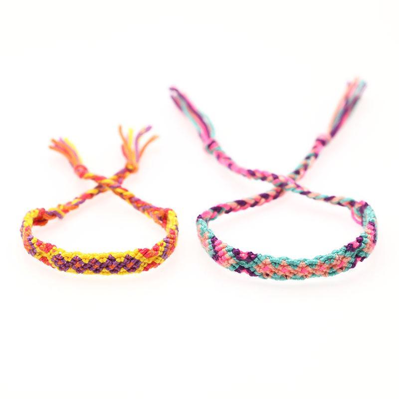 9c3610399311 Compre Bohemian Colorido Handmade Weave Corda Pulseira De Algodão Tecido Do  Vintage Nepal Festival De Música Amizade Tornozelo Pulseiras Mulheres  Homens De ...