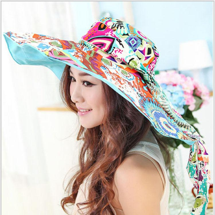 1850bfeea88 Women s Holiday Beach Sun Hats Caps 2017 Summer Fashion Prints Foldable  Floppy Sun Hats Ladies Cute Sombreros Straw Hat Girls Hat Shop Hat Styles  From ...