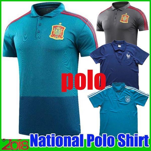 Compre 2018 Copa Do Mundo Camisa Polo Espanha Futebol Jersey 2018 França  Mangas Curtas Polo De Futebol ENGland GeRMany Uniformes De Futebol Camisas  Do ... f1558cbf92a94