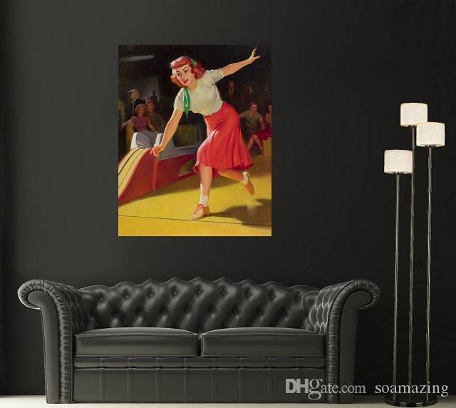 Vintage Pin Up Girl Braunschweig Bowling Pin-Up Art hochwertige handgemalte Porträt Kunst Ölgemälde auf Leinwand Multi Größen Pg98