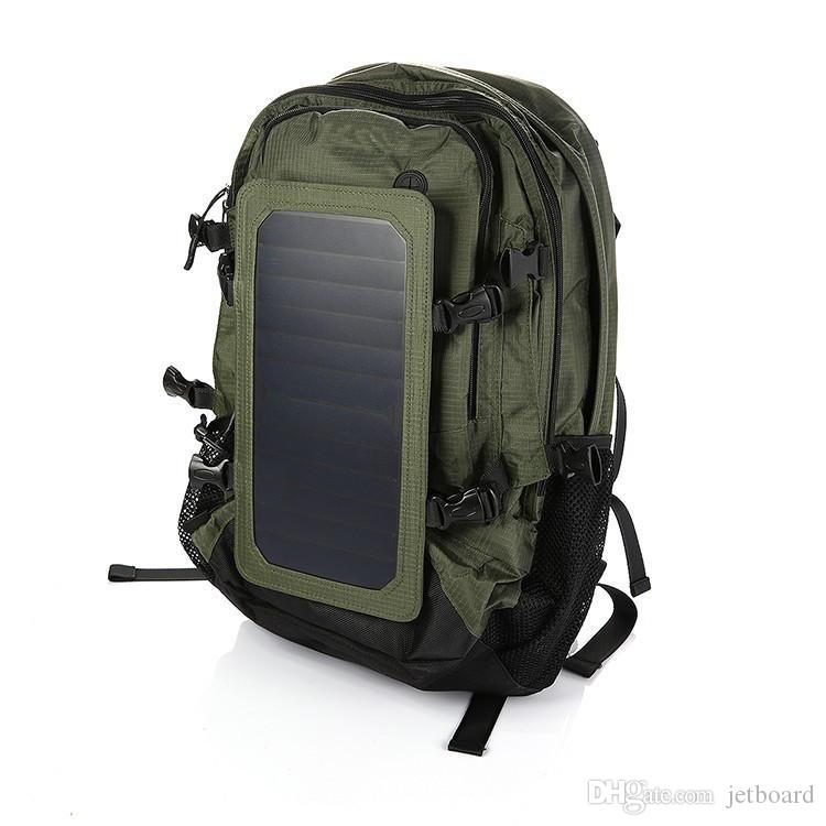Outdooors Solar Backpack Solar Charger Back Pack Bag With Removable 6.5W Solar Panel With Laptop Compartment And USB Charging Port