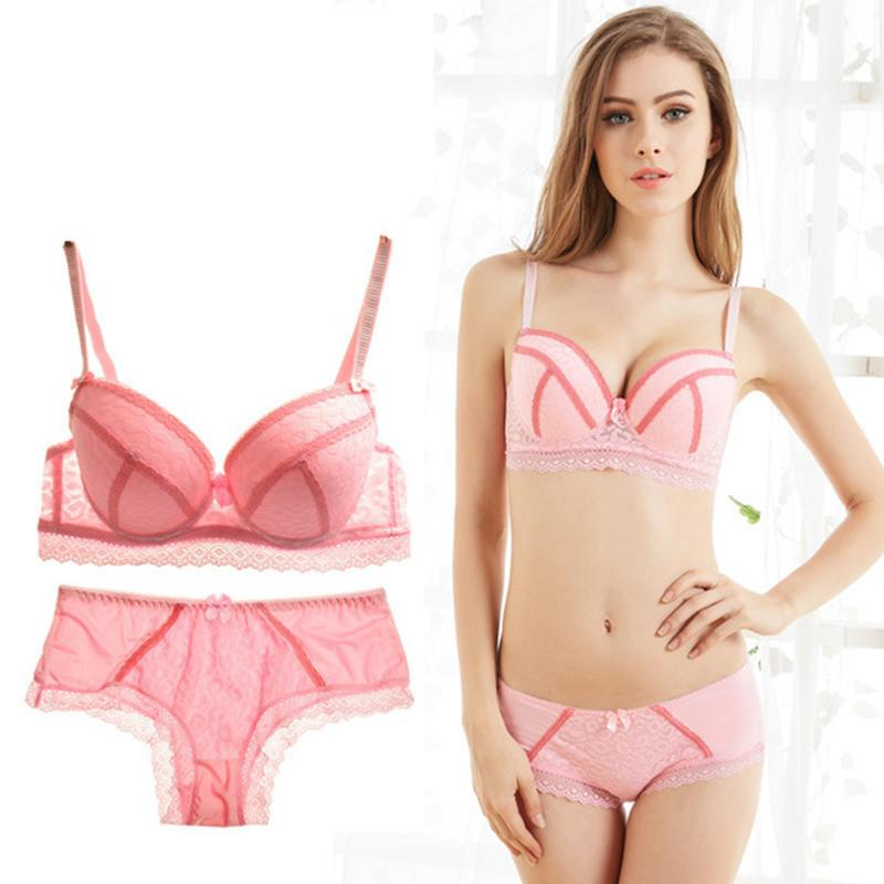 ce0cc5cf3608e 2019 Hot Sell Sexy Push Up Bra And Panty Set For Women Transparent Lace  Floral Patchwork Lingerie Bra Set Plus Size Females From Chenhanyang