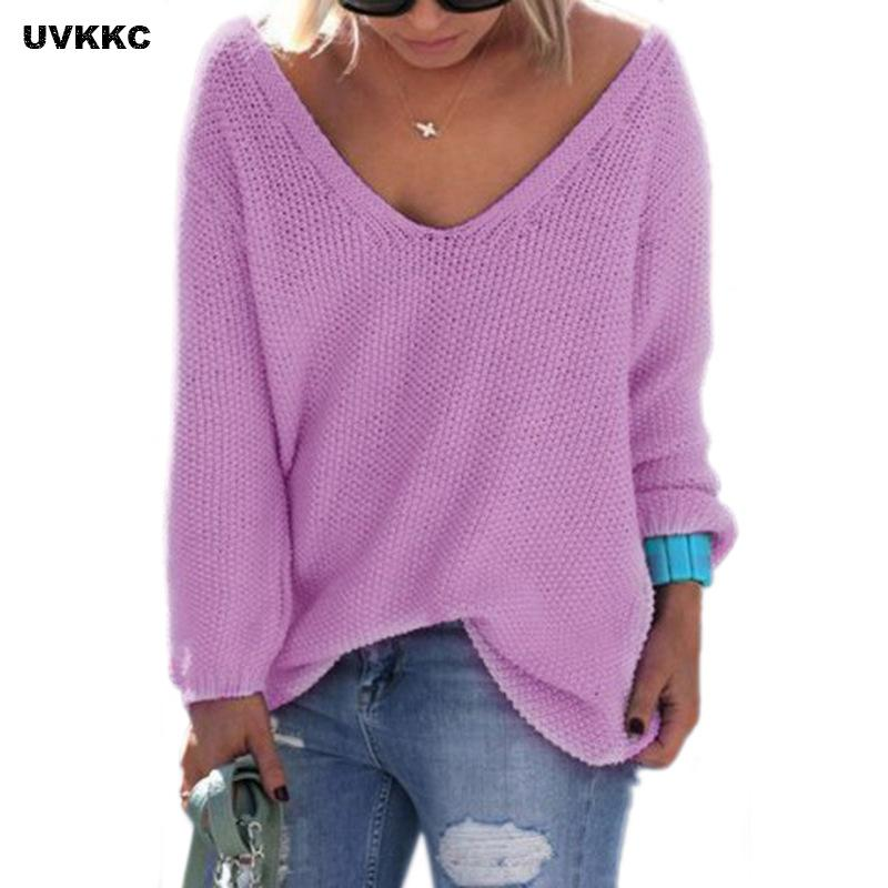 UVKKC Winter Autumn Women Sweater Long Sleeve V neck Knitted Pullover Loose Sweater Jumper Tops Knitwear Pull Femme Sueter Mujer