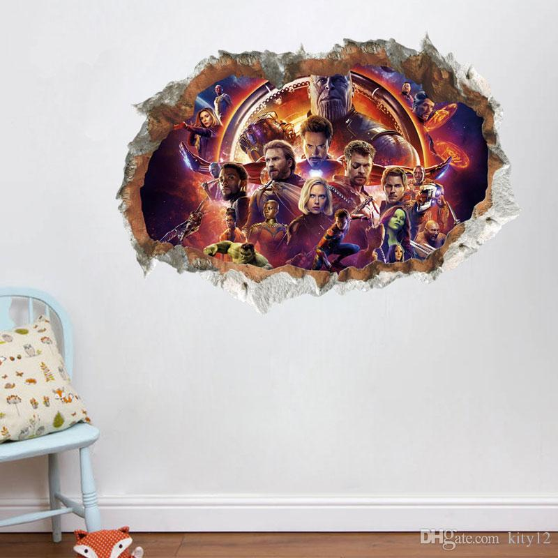 3D Avengers Vinyl Wall Stickers For Kids The Super Hero Figures Home Decor Boy's Room decoration