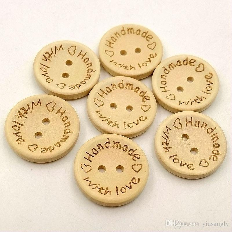15mm/20mm/25mm Natural Color Handmade Letter Love Wooden Buttons Sewing Scrapbooking Crafts