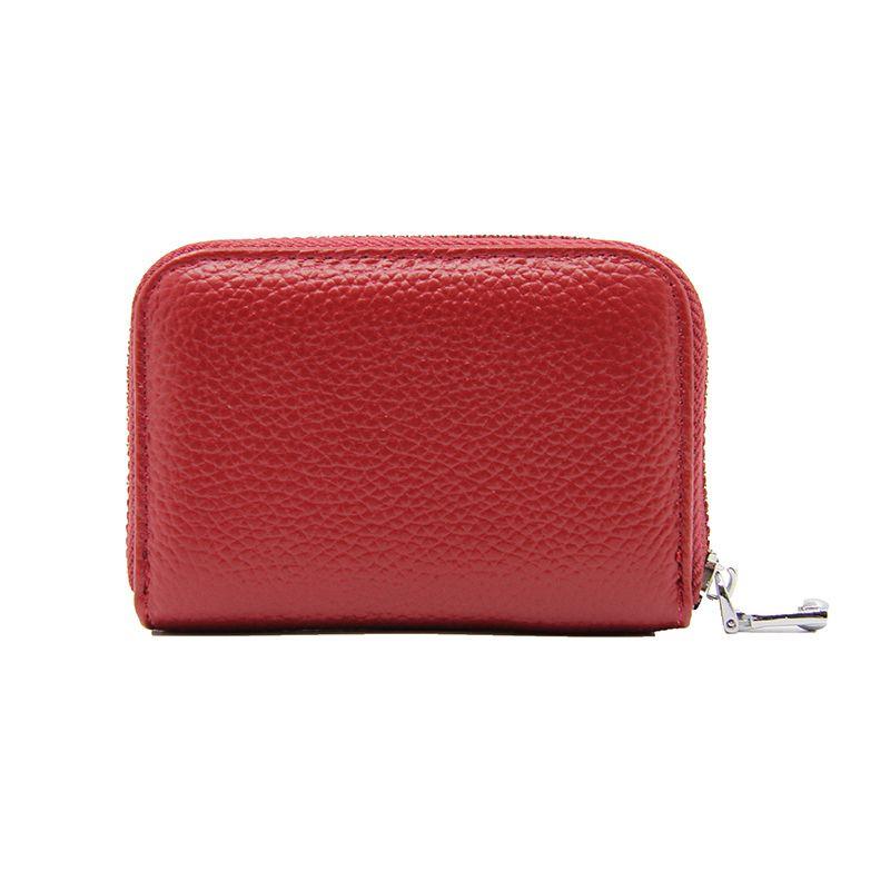 89f7c0e7c82 Women Short Zipper Accordion Wallet Leather RFID Blocking Holder Genuine  Leather Ladies Purse