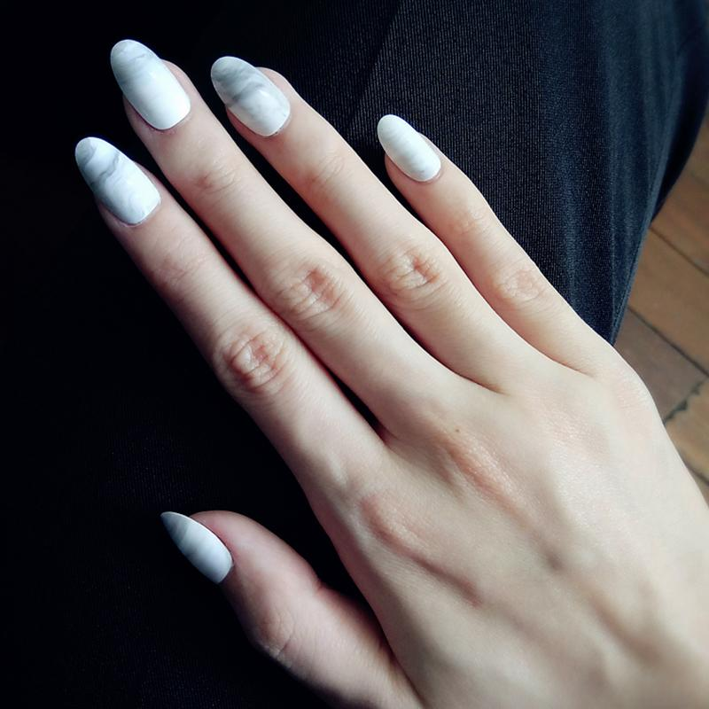 Fashion Ink Wind Marble Finished False Nail,Middle Long Size Small ...