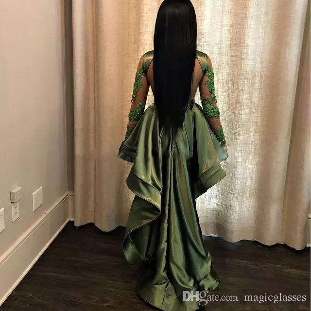 African Olive Green Black Girls High Low Prom Dresses 2018 Sexy See Through Lace Appliques Long Sleeves Party Cocktail Evening Gowns Cheap