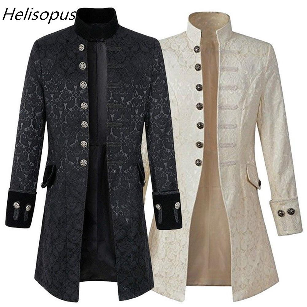 ad50d5d69ae Helisopus Men Jacket Gothic Brocade Jacket Frock Coat Long Sleeve Stand  Collar Steampunk Jacket Men s Vintage Overcoat Y18103101 Online with   60.89 Piece on ...