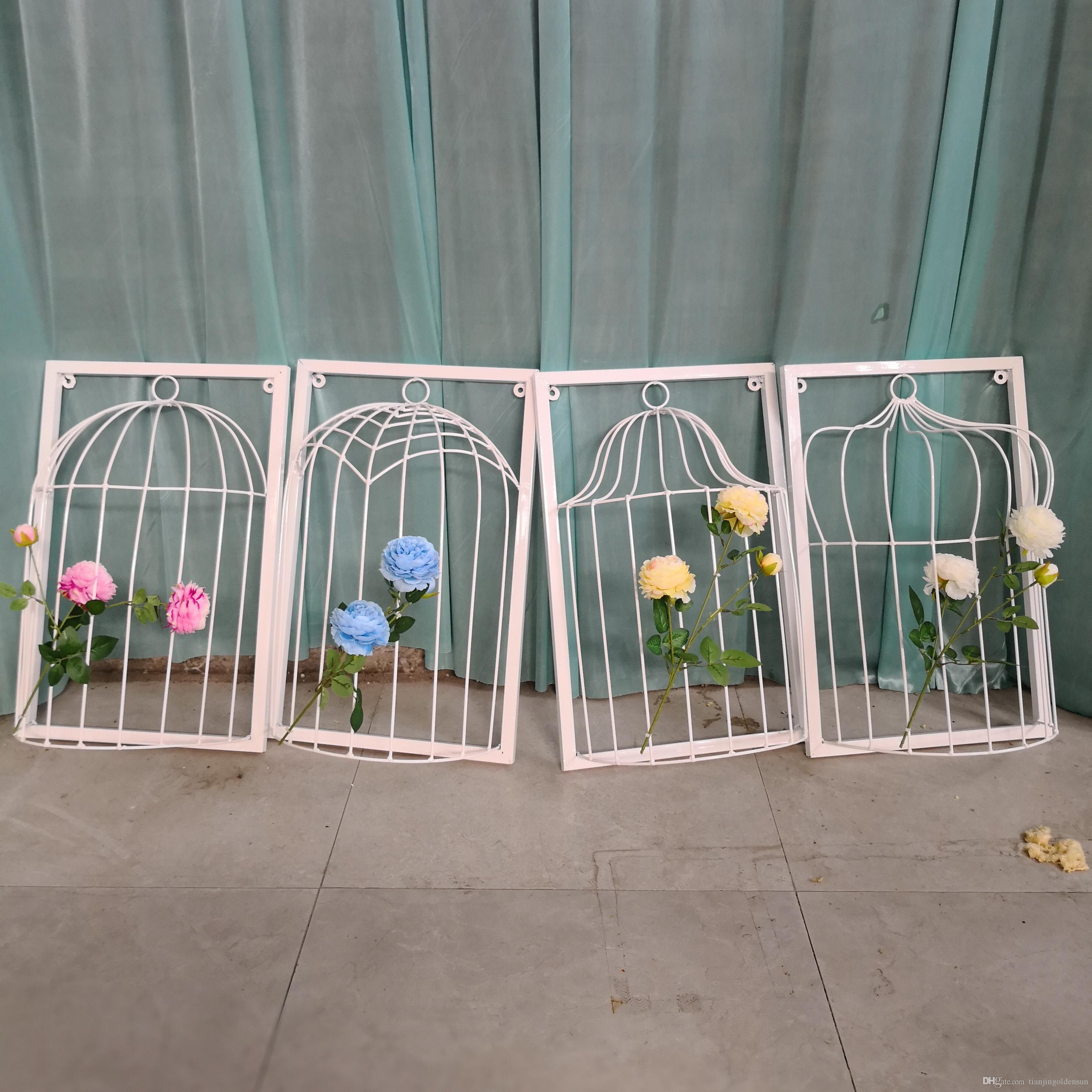 2019 White Birdcage Wrought Iron Art Crafts Wall Mural Ideas