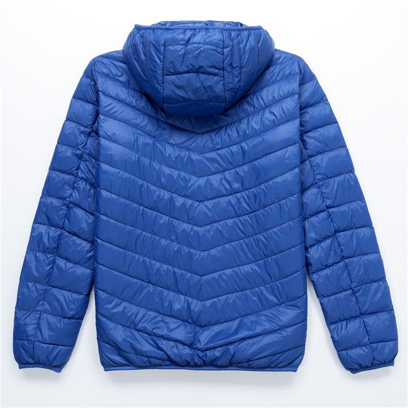Men's Down Jacket 2016 Autumn Winter Korean Duck Ultra Light Solid Hood Parks Slim Black Thin For Winter Coat Large Size XXXL