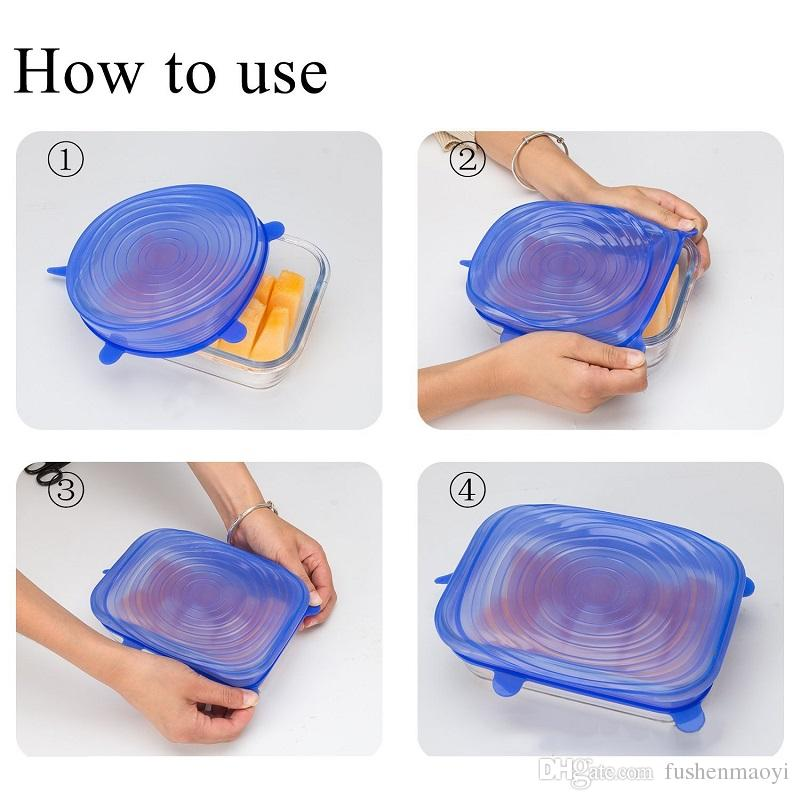 Universal Silicone Stretch Suction Stretchable Lids Cover Food Silicone Kitchen Picnic Food Fresh Preserve Universal Cover for Pots Pans Mug