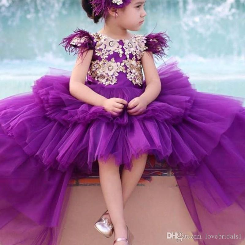 Charming Purple Girls Pageant Dresses Princess Hi Lo Tulle Tiered Skirt Gold Lace Appliqued Flower Girls Dresse Birthday Party Gowns