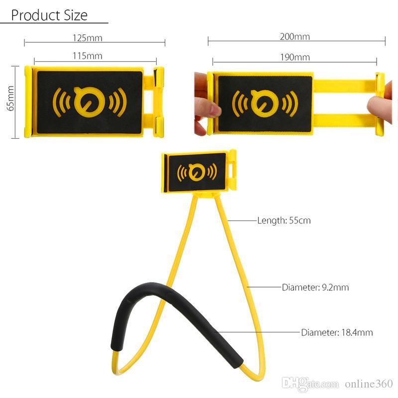 Lazy Bracket Universal 360-Grad-Drehung Flexibler Handy-Hals-hängender Standplatz-Halter für iPhone Samsung Android