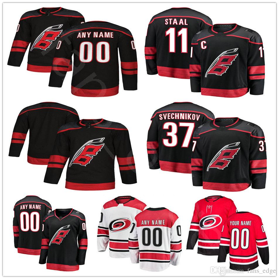 hot sales e9a4d 10fd9 ... discount code for 2018 2018 new alternate black carolina hurricanes  hockey 11 staal 20 sebastian aho