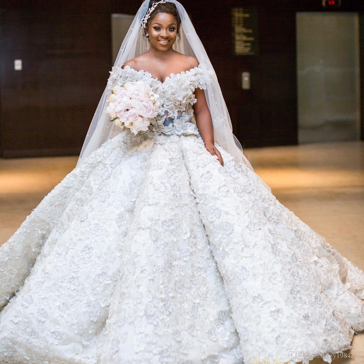 74d2ada65 Vestido Para Festa Lindo Sul Africano Princesa Do Vestido De Casamento Fora  Do Ombro Frisado 3D Floral Applique Vestido De Baile Vestido De Noiva  Fabuloso ...