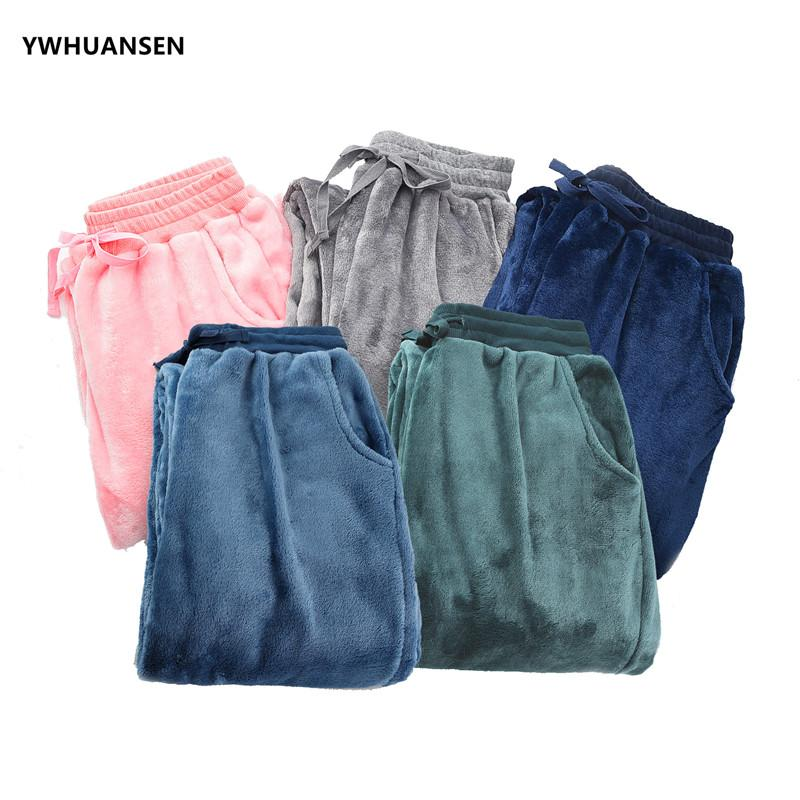 2019 YWHUANSEN Women S Super Soft Flannel Solid Color Pajama Louge Winter  Warm Bottom Pant For Sleeping Men S Thicken Pajama Trousers From  Griseldala 03462d547