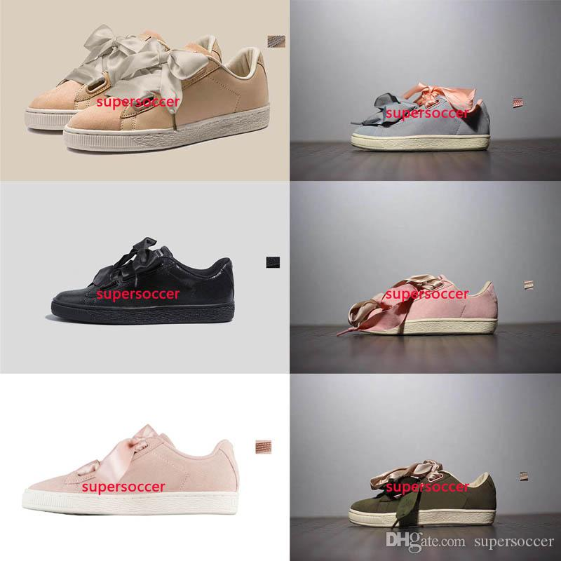 new style d2b0a 6ea37 New Fenty Rihanna Suede Bow Tie Suede Basket Heart Satin Black White And  Pink Board Shoes Basketball Silk Banded Bow Goddess Shoes 36-40