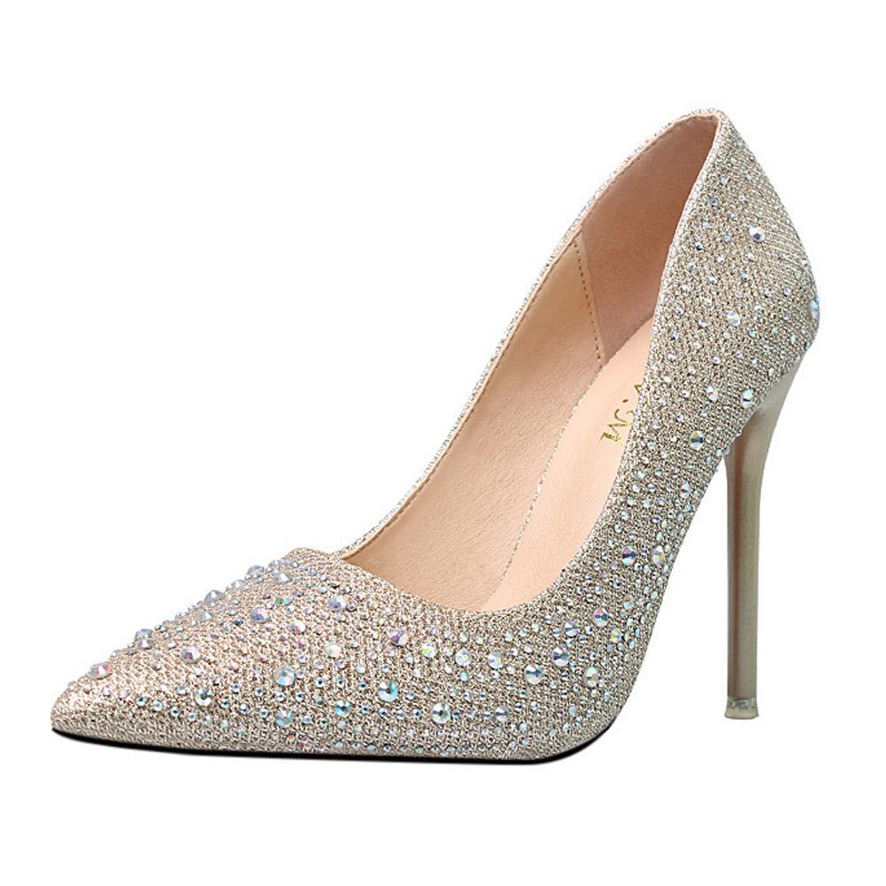 9b7c0efb40f3a0 Acquista 2018 Autunno Donna Tacchi Alti Scarpe Da Donna Pompe Di Cristallo  Argento Sexy Scarpe Da Donna Scarpe Da Sposa Strass Moda Ladies Stiletto A  $47.3 ...