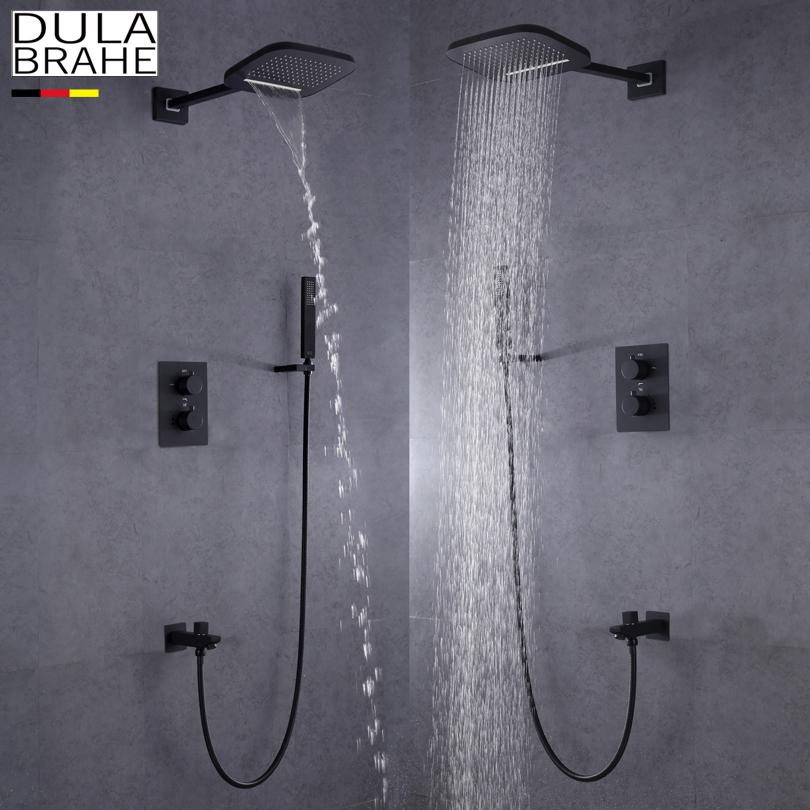 Silver Dulabrahe Waterfall Bathroom Shower Mixer Faucet Set Wall Mounted Rain Bath Shower Head Tap Black Bathroom Fixtures