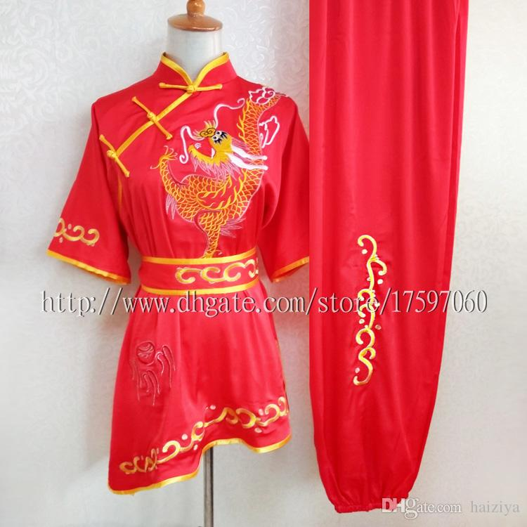 Chinese Wushu uniform Kungfu clothes Martial arts suit taolu outfit Routine kimono Traditional embroidery for men women boy girl kids adults