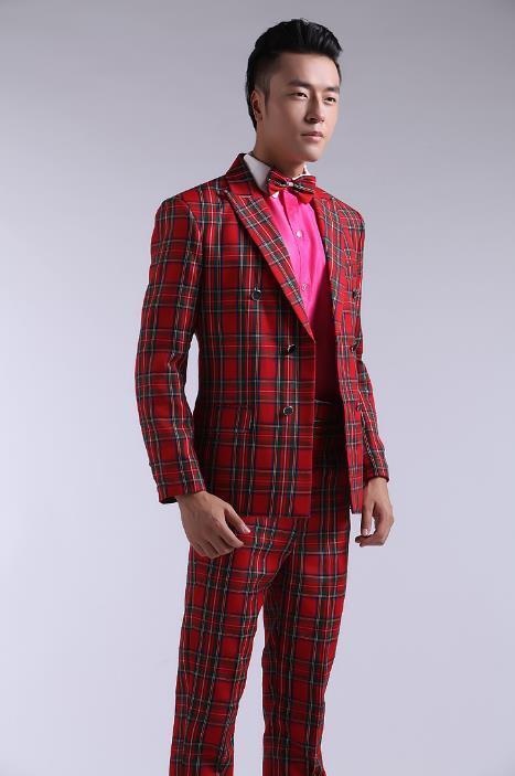 Acquista Blazer Plaid Rosso Da Uomo Formale Abito Ultimo Cappotto Pantalone  Tuta Uomo Costume Terno Pantalone Matrimonio Abiti Da Sposa Uomo A  128.71  Dal ... 008d42c65e7