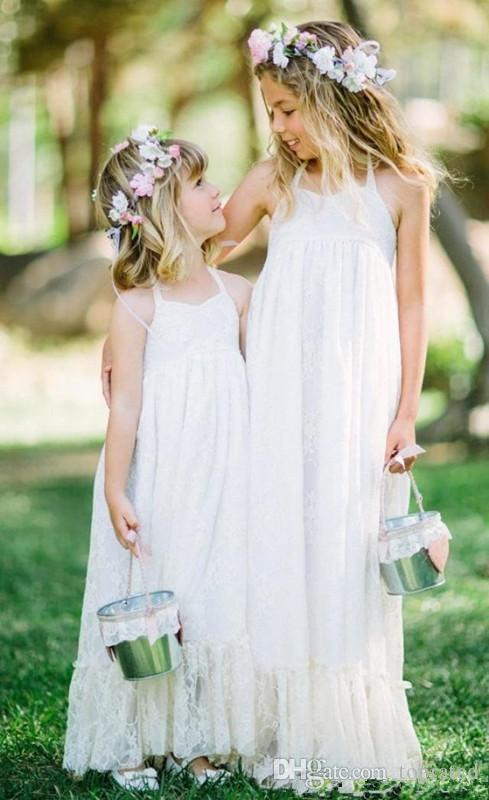 2018 New Lovely White Lace Boho Flower Girls Dresses Halter Floor Length A Line Cheap Flower Girls Gowns for Beach Garden Formal Wedding