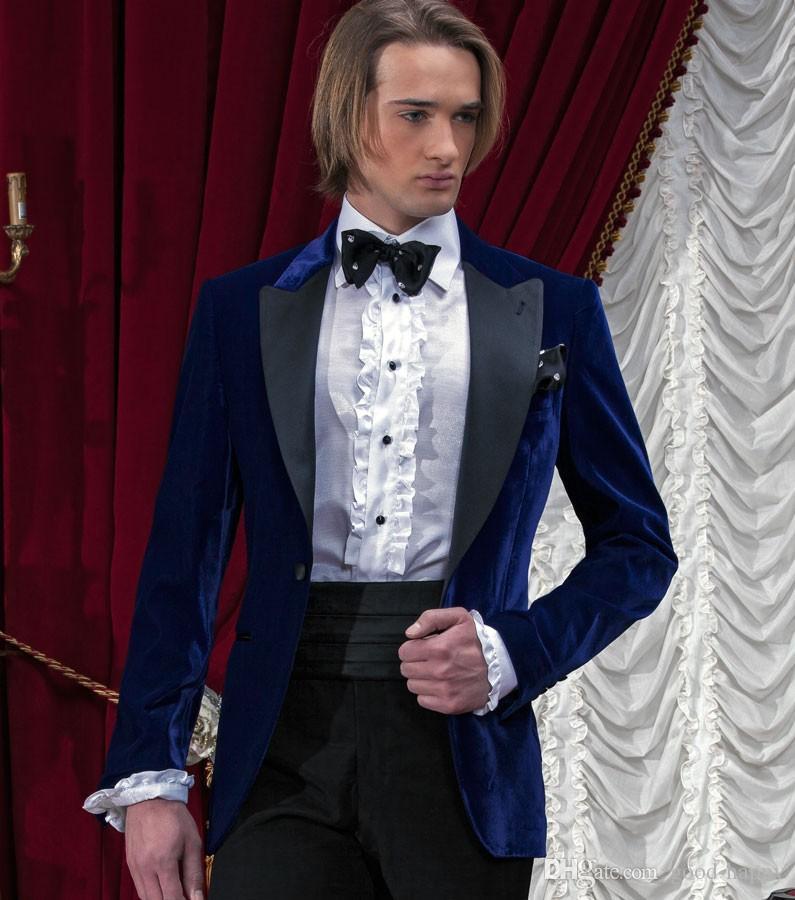 Best Desigen Navy Blue Velvet Groom Tuxedos Peaked Lapel Trim Fit Groomsmen Wedding Tuxedos Men Party SuitsJacket+Pants+Tie+Girdle NO;428
