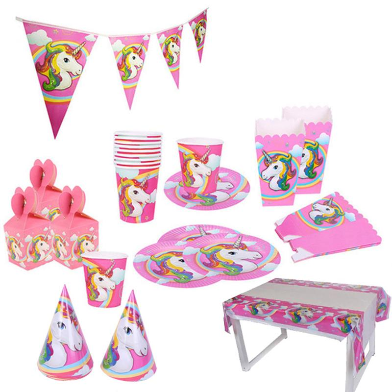 Unicorn Party Banner Gift Bag Balloons Birthday Plate Popcorn Cup 1st Decoration Kids Favor Supplies F Supply Online With