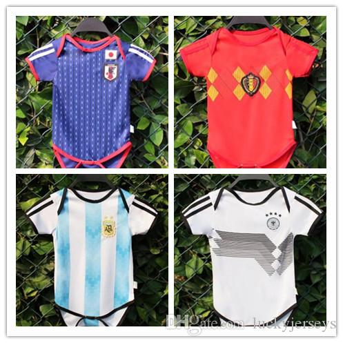 e6b7ab14a18 2019 Baby Soccer Jersey Argentina Germany Japan Belgium Climb Jumpsuit For 6  To 18 Month 2018 World Cup Soccer Shirt 2018 Baby Football Uniforms From ...