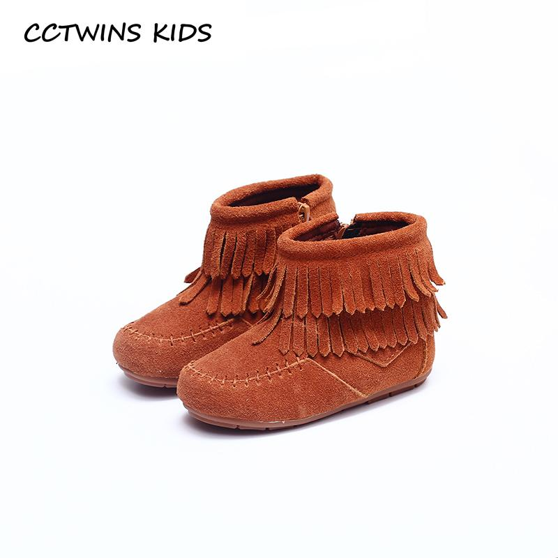 CCTWINS KIDS 2018 Autumn Winter Toddler Baby Girl Fashion Tassel Black  Booties Leather Brown Children Fringe Ankle Boots C1130