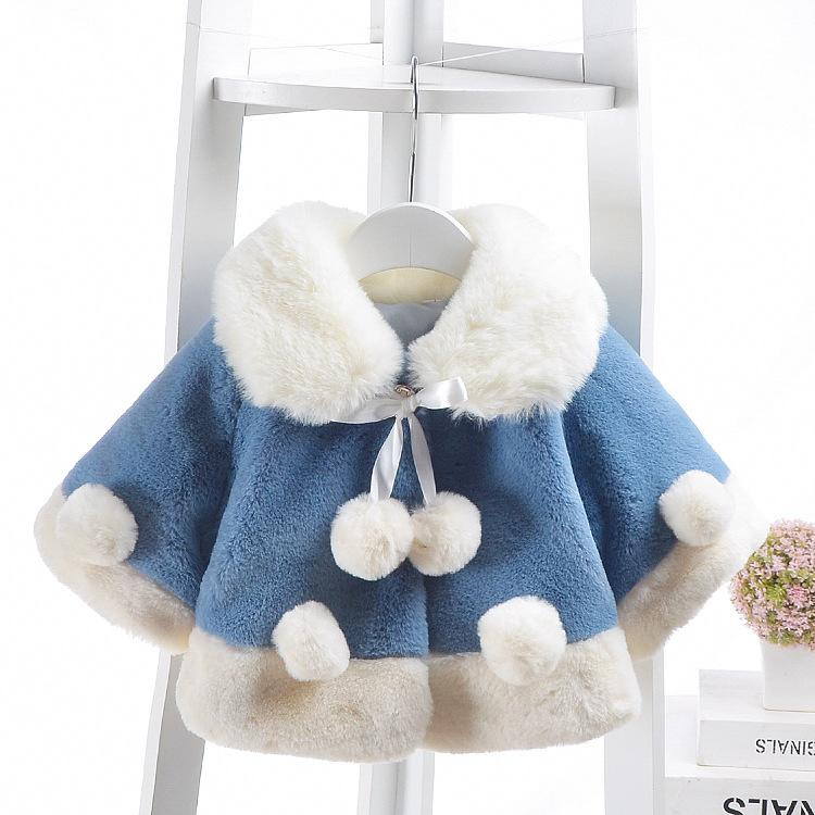 Girls Wear Winter Jacket New Female Baby Thickening Poncho Imitation