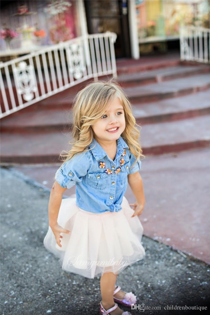 Mother And Daughter Clothes Mommy And Me Matching Family Outfits Women Girls Denim Blouse T Shirt + White Tutu Skirt Sets Family Look