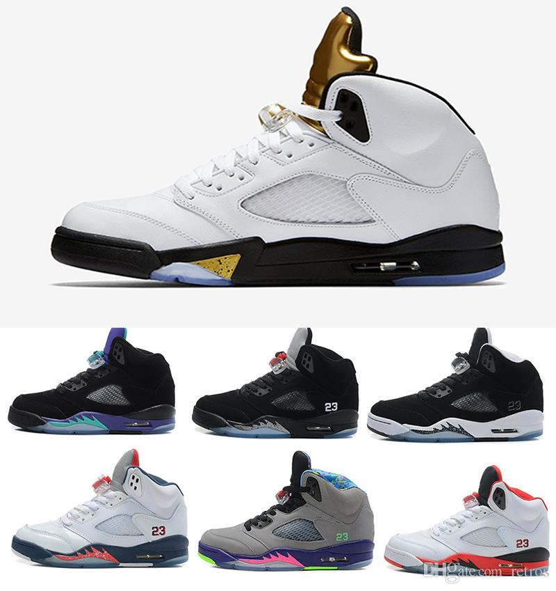 2018 New mens shoes 5 5s V Olympic metallic Gold White Cement Man OG Black Metallic red blue Suede Sport Sneakers outlet the cheapest fast delivery online kcgRnSmn