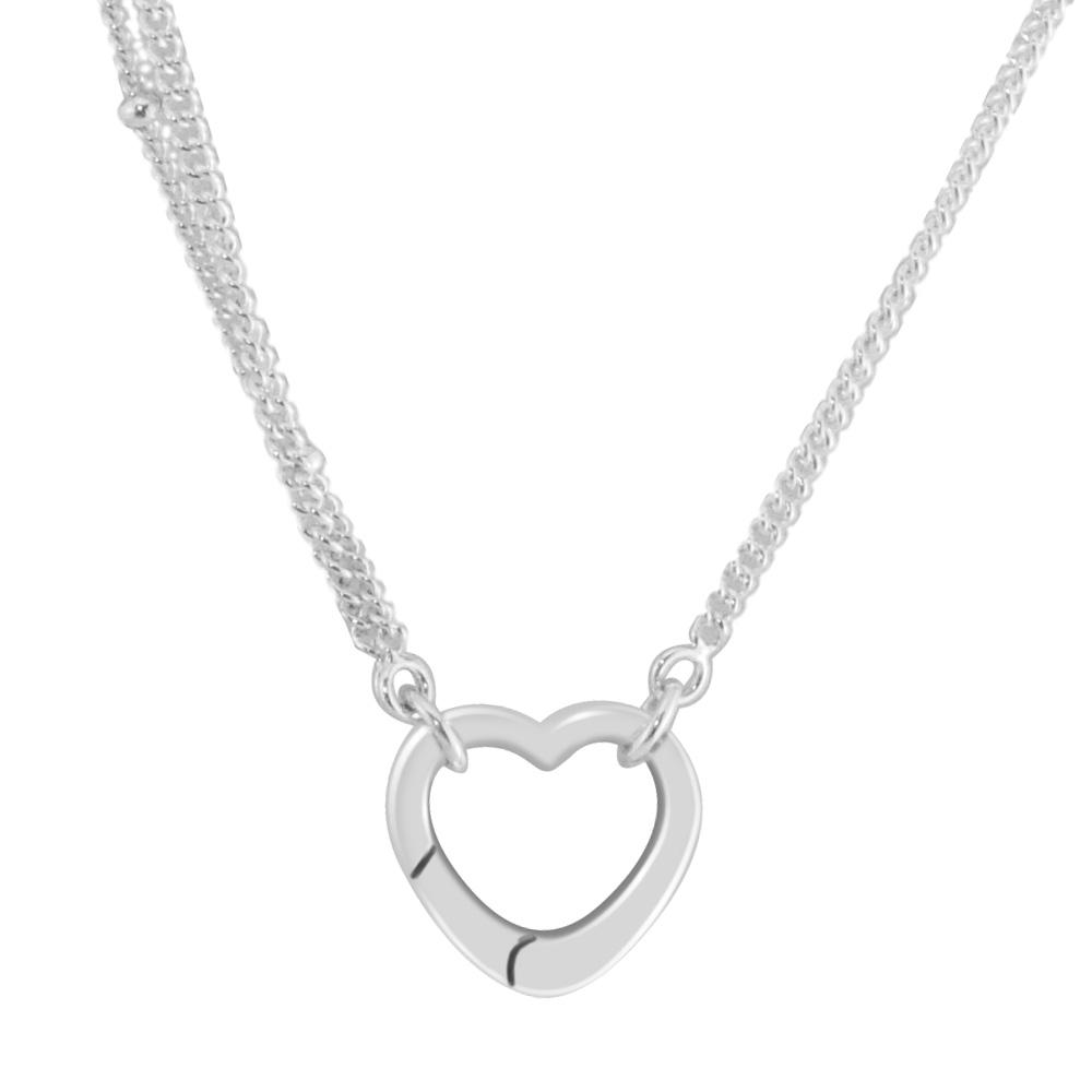 eb2f0542a5997 Necklaces &Pendants Choker Open Heart Pendant DIY Sterling-Silver-Jewelry  Silver 925 Pingente
