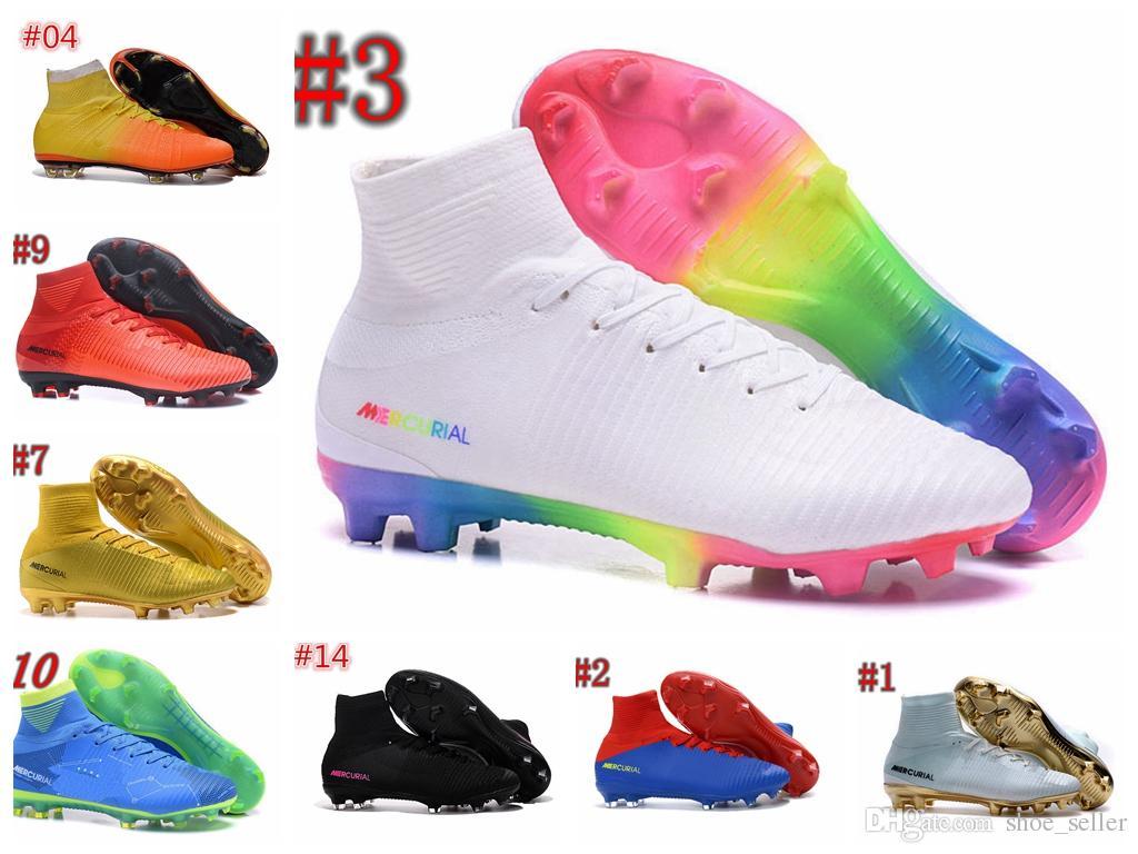 9c6ccbd233ed6 Compre Blanco Rojo Arco Iris 100% Zapatos De Fútbol Originales Mercurial  Superfly V Zapatos De Fútbol FG Botas De Fútbol Alto Tobillo Ronaldo Sports  ...