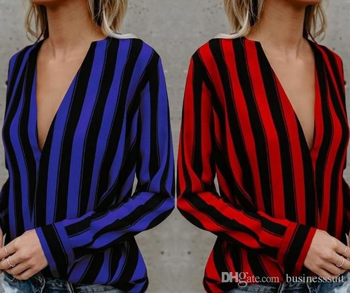 7b38b9e48235b6 2019 Black Red Striped Shirt V Neck Long Sleeve Blouse Women New Style  Spring Fall Workwear Loose Sexy Deep Neck Shirt S XL XRCS33 From  Businesssuit, ...