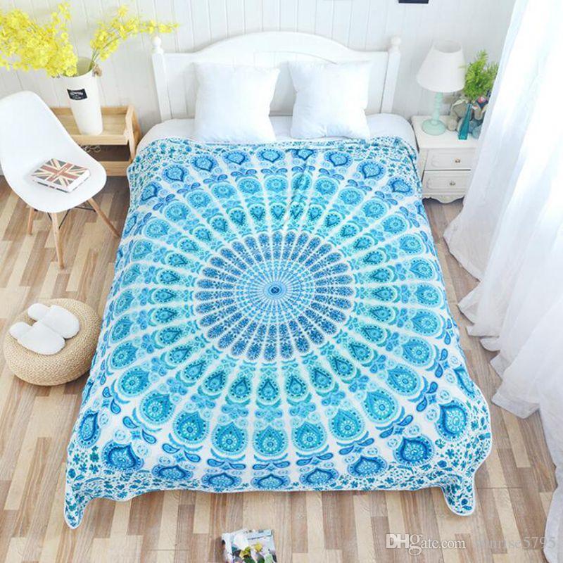 Elegant Blue Couch Sofa Throw Cover Warm Winter Fluffy Blanket Boho ...
